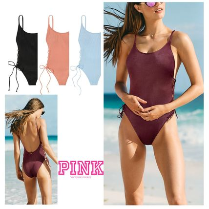 Victoria's Secret ワンピース水着 PINK新作!スタイルUP♡RIBBED LACE-UP ONE-PIECE