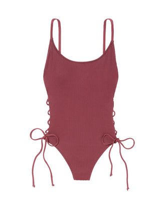 Victoria's Secret ワンピース水着 PINK新作!スタイルUP♡RIBBED LACE-UP ONE-PIECE(5)