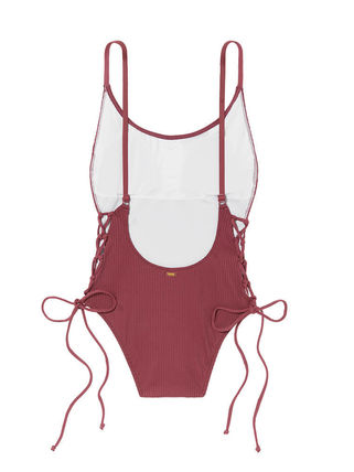 Victoria's Secret ワンピース水着 PINK新作!スタイルUP♡RIBBED LACE-UP ONE-PIECE(6)