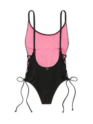 Victoria's Secret ワンピース水着 PINK新作!スタイルUP♡RIBBED LACE-UP ONE-PIECE(8)