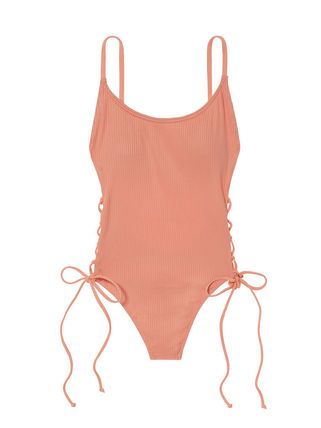 Victoria's Secret ワンピース水着 PINK新作!スタイルUP♡RIBBED LACE-UP ONE-PIECE(9)