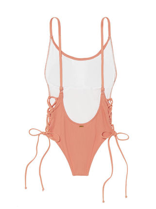 Victoria's Secret ワンピース水着 PINK新作!スタイルUP♡RIBBED LACE-UP ONE-PIECE(10)