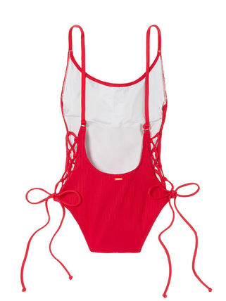 Victoria's Secret ワンピース水着 PINK新作!スタイルUP♡RIBBED LACE-UP ONE-PIECE(18)