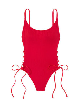 Victoria's Secret ワンピース水着 PINK新作!スタイルUP♡RIBBED LACE-UP ONE-PIECE(19)