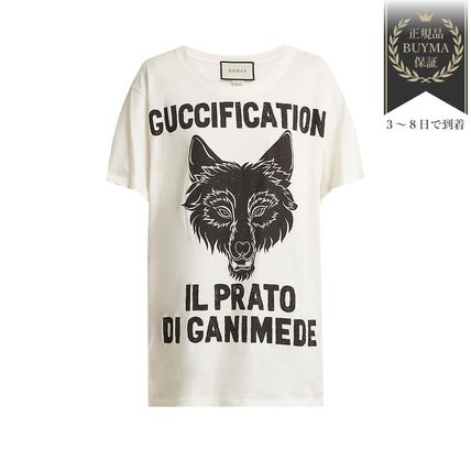 GUCCI Tシャツ・カットソー 最新作♪Wolf head printedコットン Tシャツ