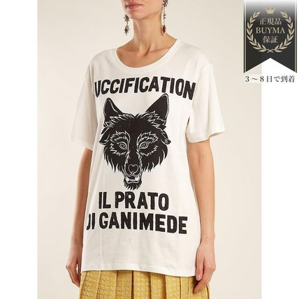 GUCCI Tシャツ・カットソー 最新作♪Wolf head printedコットン Tシャツ(4)
