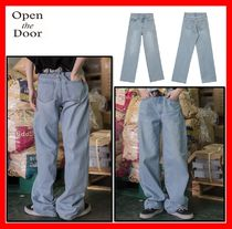韓国人気【OPEN THE DOOR】BOY-FIT DENIM PANTS ☆UNISEX★2色★