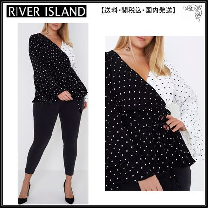 【海外限定】River Island トップス☆Plus black polka dot wrap