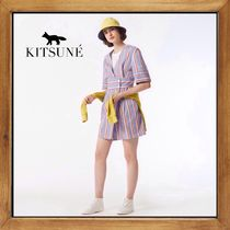 ★MAISON KITSUNE  STRIPED SALLY SHORT CROSSOVER DRESS  ★