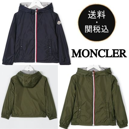 MONCLER キッズアウター 関税・送料込 MONCLER NEW URVILLE フード付 袖ロゴ ジャンパー