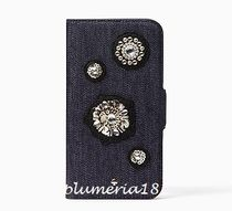 sale!kate spade-denim embellished folio iPhoneX case