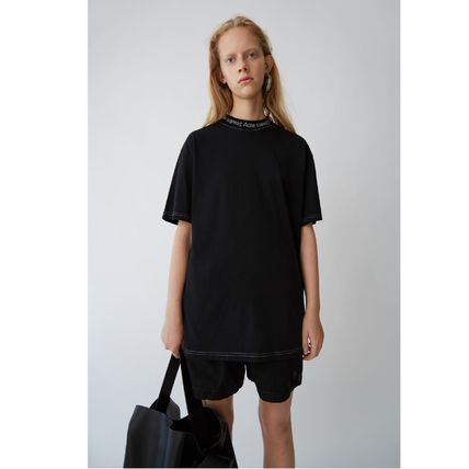 Acne Tシャツ・カットソー [Acne] Gojina dyed T-shirt ロゴ入ボーイフィットTシャツ 2色(14)