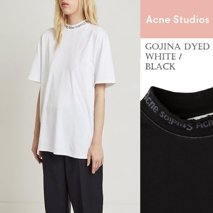 Acne Tシャツ・カットソー [Acne] Gojina dyed T-shirt ロゴ入ボーイフィットTシャツ 2色