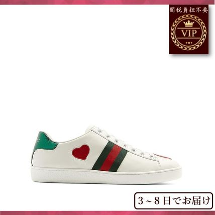 GUCCI▼New Ace heart-applique レザースニーカー