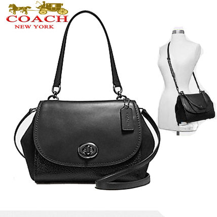 Coach 人気 新品 FAYE CARRYALL BLACK MIXED 上質レザー2way