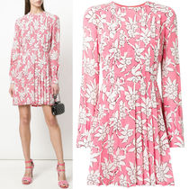18SS V996 RODODENDRO PRINT SILK PLEATED DRESS