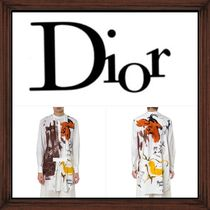 ★DIOR《 OVER SIZED BEIGE COTTON GRAFFITI BLOUSE》送料込み★