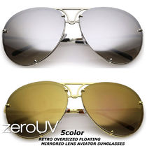 全5色*zeroUV*RETRO OVERSIZED FLOATING MIRRORED LENS AVIATOR