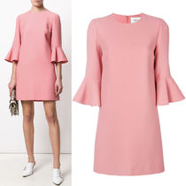 18SS V1000 CREPE COUTURE DRESS WITH BELL SLEEVE