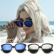 全5色*zeroUV*OVERSIZE FLASH MIRROR LENS CAT EYE SUNGLASSES
