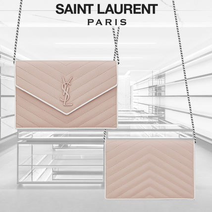 SAINT LAURENT MONOGRAMU ENVELOPE CHAIN WALLET