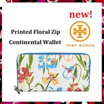 セール 新作 Tory Burch Pinted Floral  Zip Continental Wallet