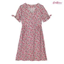 Cath Kidston☆VISCOSE DRESS ISLAND FLOWERS VANILLA BLUE