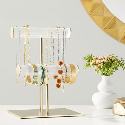 *PotteryBarn*Ava Frosted Acrylic Double Bar Jewelry Stand