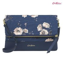 Cath Kidston☆LEATHER FOLDOVER CLUTCH SOLID DARK INK