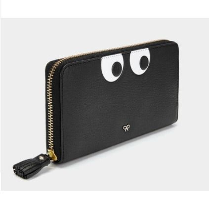 【Anya Hindmarch 】Eyes zip around wallet BLACK 【関税込み】