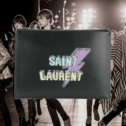 *SAINT LAURENT*PRINTED LEATHER POCHETTE  レザーポシェット 黒