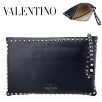 VALENTINO/正規品/EMS送料込み Rock Stud Handle Clutch Bag