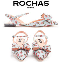 【18SS】★Rochas★Floral brocade point-toe slingback flats