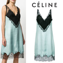 【18SS】大注目!!★CELINE★V-neck lace flared dress
