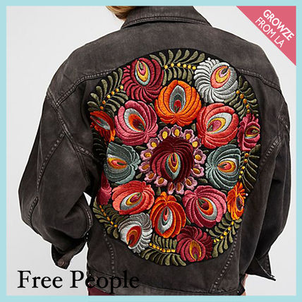 Free People ジャケット 【Free People】花柄刺繍ジャケット Embroidered Denim Jacket