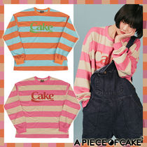 A PIECE OF CAKE(ピースオブケイク) Tシャツ・カットソー ★ケーキ ボーダー 2カラー(Cake Stripe Longsleeved T-shirts)