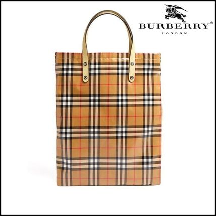 【Burberry(バーバリー)】contrast-handle laminated tote bag