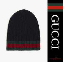 【国内発送】GUCCI ビーニー Striped knitted wool beanie