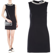 18SS G240 PEARL & CRYSTAL EMBELLISHED STRETCH CADY DRESS