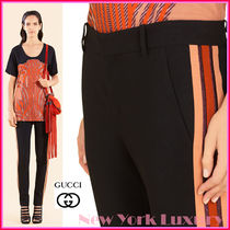 GUCCI★グッチ★素敵!BLACK STRETCH LUREX SIDE BAND PANTS