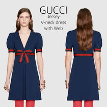 GUCCI(グッチ)☆Jersey V-neck dress with Web☆ワンピース
