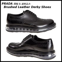 *PRADA*Brushed Leather Derby Shoes クリアソール