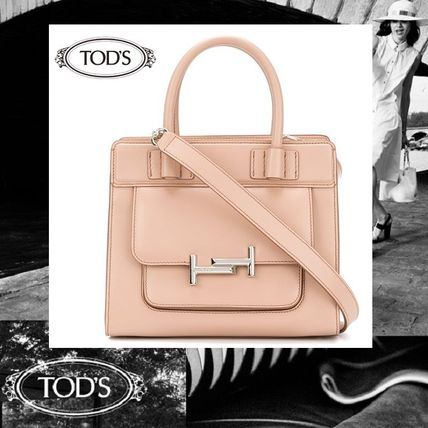 【Tod's】トッズ レザー Double T ハンドバッグ ペールピンク