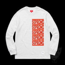 SS18 SUPREME STACKED L/S TOP ASH GREY S-XL 送料無料