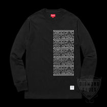 SS18 SUPREME STACKED L/S TOP BLACK  S-XL 送料無料 WEEK2