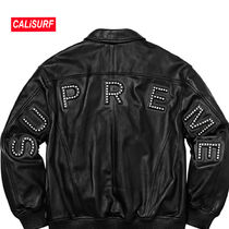 WEEK2★SS18 Supreme STUDDED ARC LOGO レザー/BLACK/Sサイズ