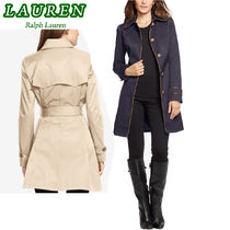 特別価格!Ralph Lauren Faux-Leather-Trim Trench Coat 2色