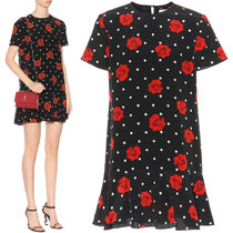 18SS WSL1203 ROSE & POLKA DOT PRINTED SILK MINI DRESS