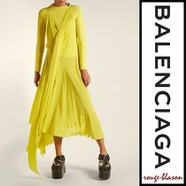 国内発送】Balenciaga ドレス Round-neck draped silk-crepe