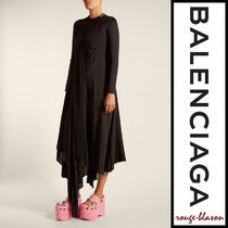 【国内発送】Balenciaga ドレス Round-neck draped silk-crepe